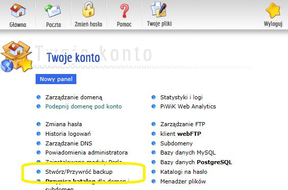 backup - panel administracyjny na hostingu